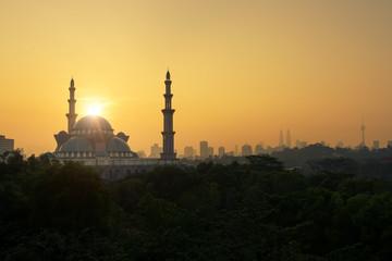 Federal Territory Mosque, Kuala Lumpur, Malaysia shot in the mor