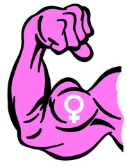 Biceps painted with pink color and symbol of female as metaphor of feminist movement and strong women