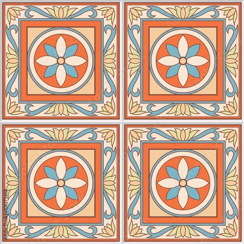 Seamless Pattern Retro Ceramic Tile Design With Fl Ornate Endless Texture