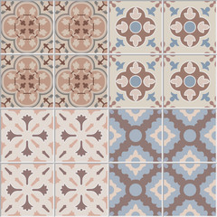Vector Set with Beautiful seamless ornamental tile background