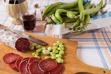 Italian salami meat braod bean and red wine