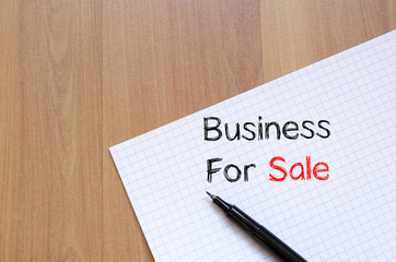 Business for sale write on notebook