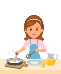 Cute girl in an apron prepares an omelet. Mom to cook breakfast. Concept design of motherhood and household chores