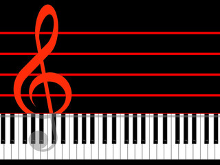 Treble clef and keys of the piano