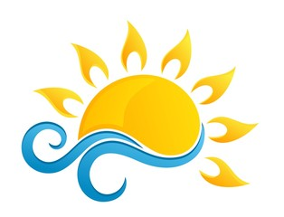 sun Logo with blue wave.