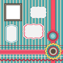 Set for scrapbooking, frames, ribbons, flowers