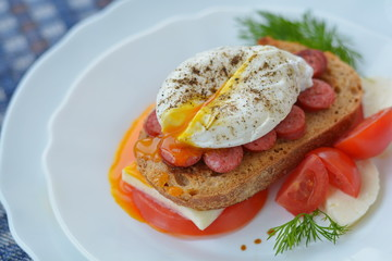 Poached egg on sandwich - tasty breakfast