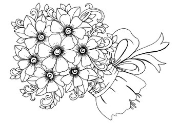 Bouquet of flowers. Doodle flowers  adult coloring page