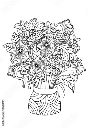 Doodle flowers in vase adult coloring page  Stock image and