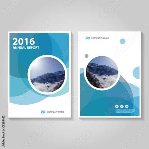 Circle Blue Vector Business Proposal Leaflet Brochure Flyer Template