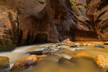water stream through the canyon