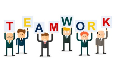 teamwork businessmen with letters