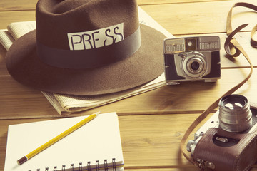 vintage reporter hat fedora camera / vintage vision of the profession of reporter