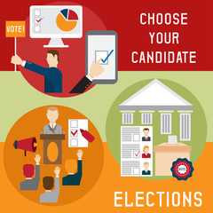 Election voting and debate mini banners set flat design vector i