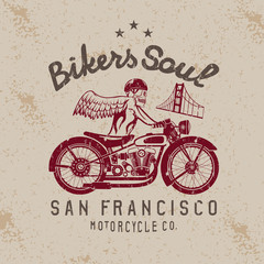skeleton in helmet on bike and golden gate bridge vector design