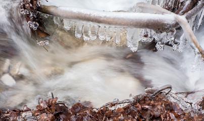 Frozen stream at Janosikove diery, Slovakia
