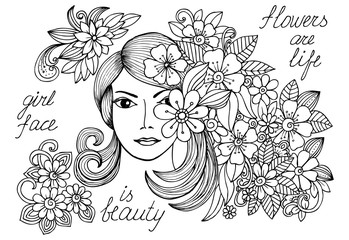 Woman's face and floral doodle pattern