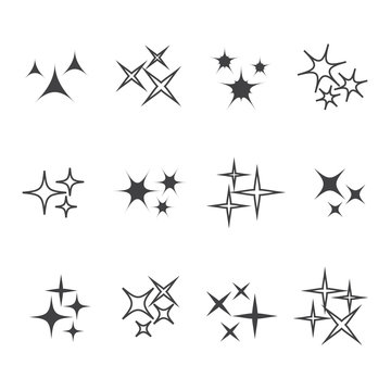Vector sparkles icon set. Star element, light and bright vector illustration
