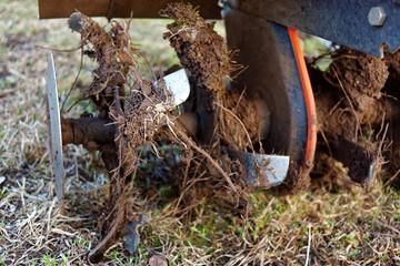 The garden tiller after work close up, walk-behind tractor