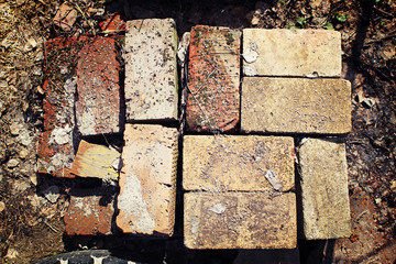 Old bricks at a construction site