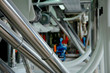 Metal pipe on grain mill. industrial