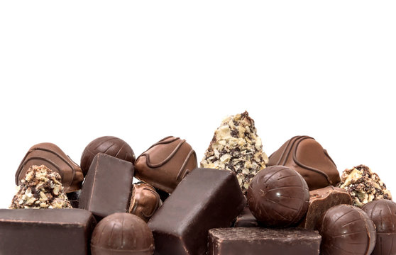Chocolate candies isolated on white