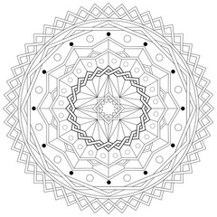 Mandala Adult Coloring Book Template - Printable vector eps10