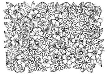 Magical adult coloring page with flowers and leaves