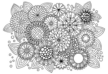 Coloring page with abstract flowers and leaves