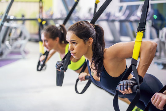 Women training arms with trx fitness straps in the gym doing push ups train upper body chest shoulders pecs triceps.