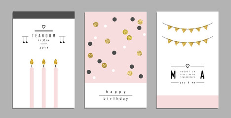 Collection of trendy cards and invitations with gold glitter texture