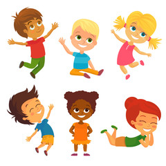 Vector Illustration of Happy Kids having Fun