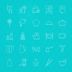 Kitchenware and Cooking Tools Line Icons Set over Polygonal Back
