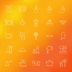 Kitchen Appliances and Cooking Line Icons Set over Blurred Backg