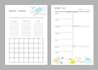 Monthly Planner plus Weekly List Templates. Organizer and Schedu