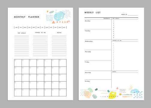 Monthly Planner plus Weekly List Templates. Organizer and Schedu