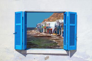 Traditional fishing village on Milos island, Greece