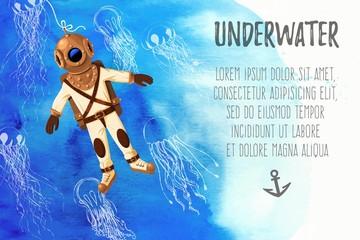 Retro diver and jellyfish