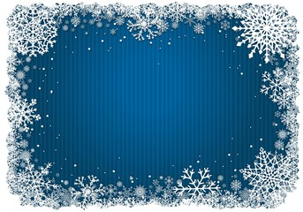Blue Christmas background with frame of snowflakes