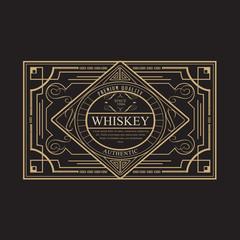 antique frame vintage border whiskey label retro