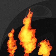 Vector Fire set isolated on granite background.