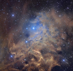 Nebula and stars in cosmic space. Retouched image. Elements of this image furnished by NASA.