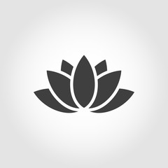 Vector black lotus icon on grey background. Lotus plant. Lotus flower