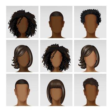 Vector Multinational Male Female Face Avatar Profile Heads