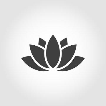 Vector black lotus icon on grey background. Lotus plant. Lotus flower