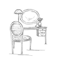 Hand drawn chair, table and mirror.