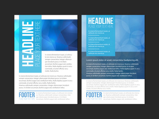 Blue and white brochure template design with green, orange and yellow shapes. Cover layout and infographics