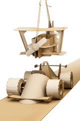 cardboard racing car and cardboard plane