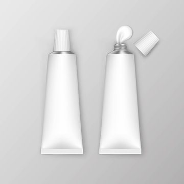 Vector Blank White Tubes Isolated on Background