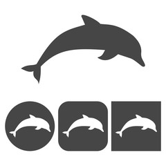 Dolphins - vector icons set